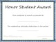 Honor Student Award Certificate Template