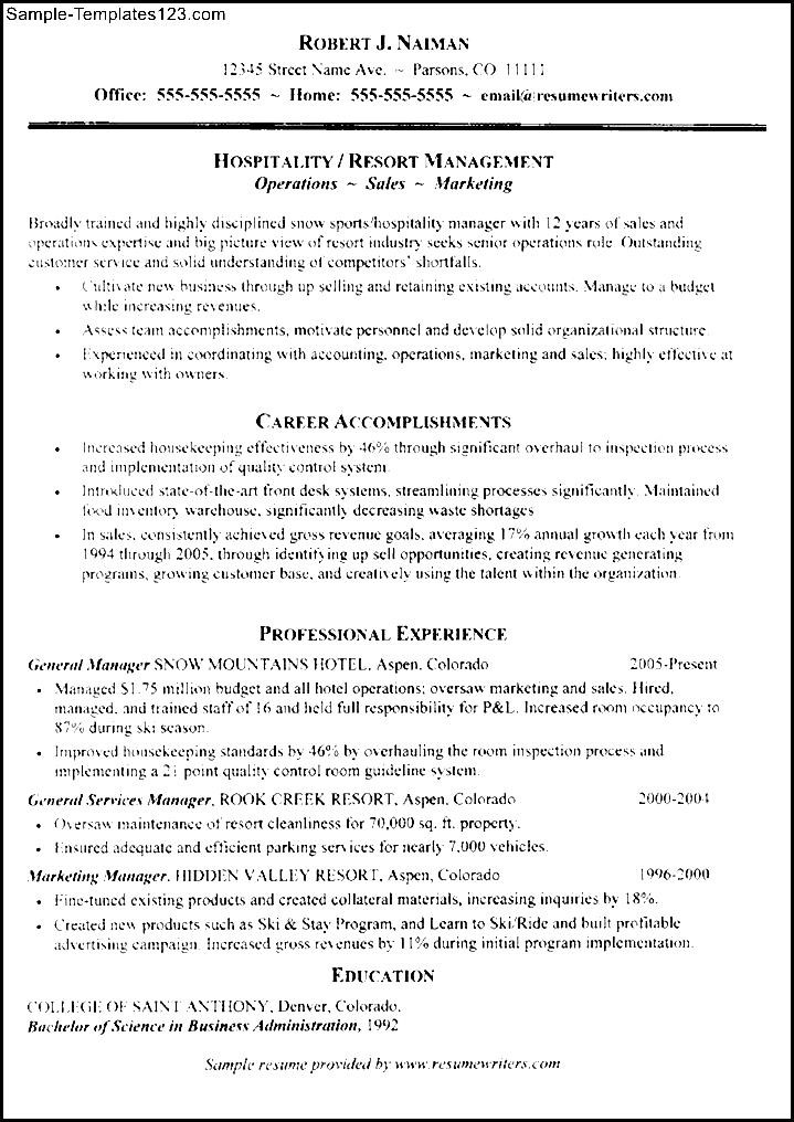 hospitality management resume sample sample templates