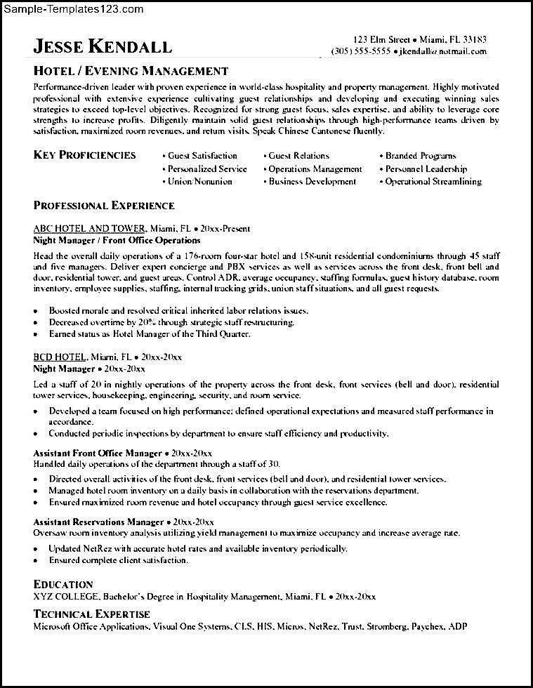 hospitality management resume  sample templates  sample