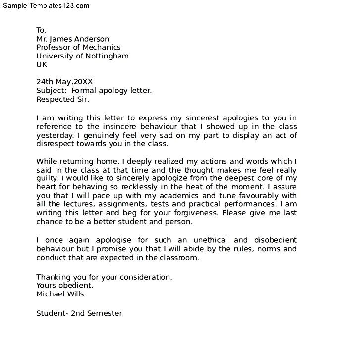 Formal apology letter format image collections letter format how to write a letter of apology images letter format formal sample spiritdancerdesigns Choice Image