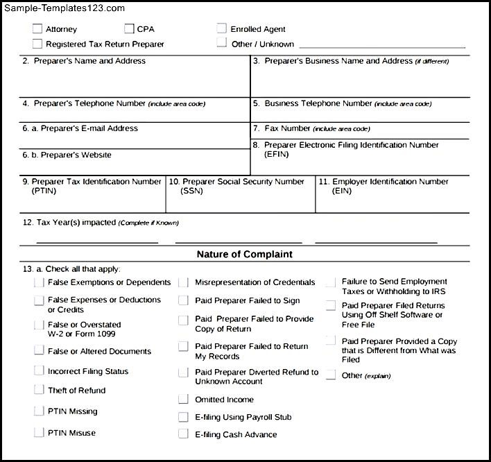Irs Complaint Form Example  Sample Templates