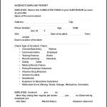 Incident Complaint Report OSHA Form