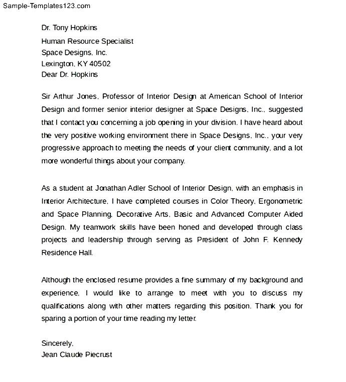 interior design cover letter format - sample templates