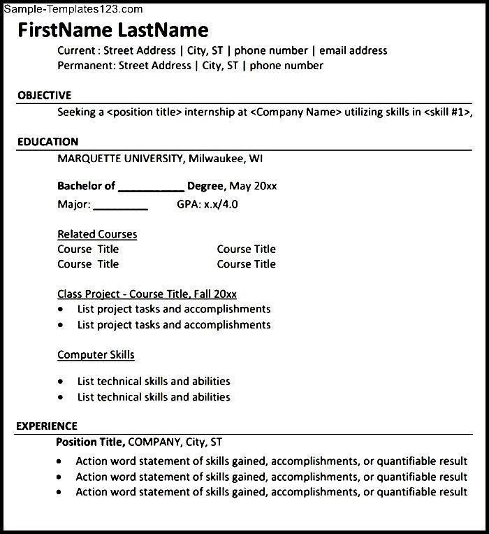 internship resume pdf download  sample templates  sample