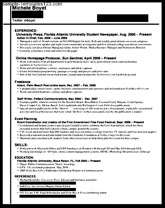 internship resume for college  sample templates  sample