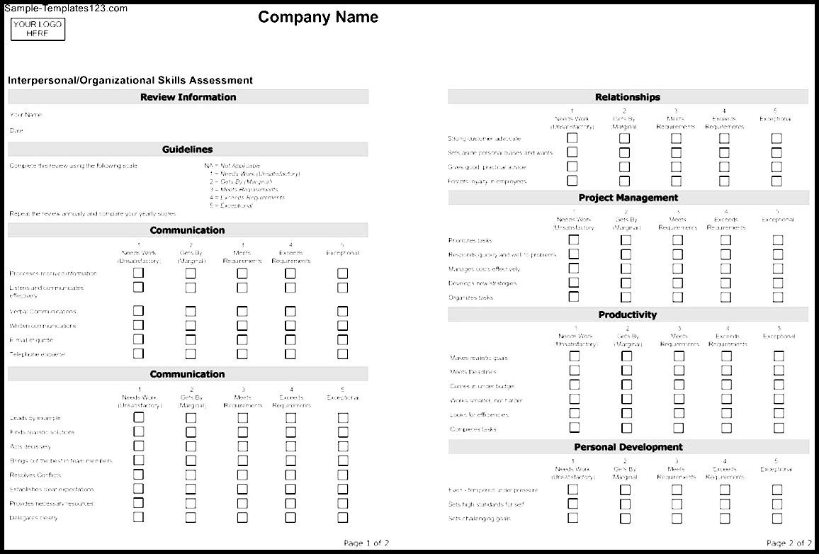 company assessment template