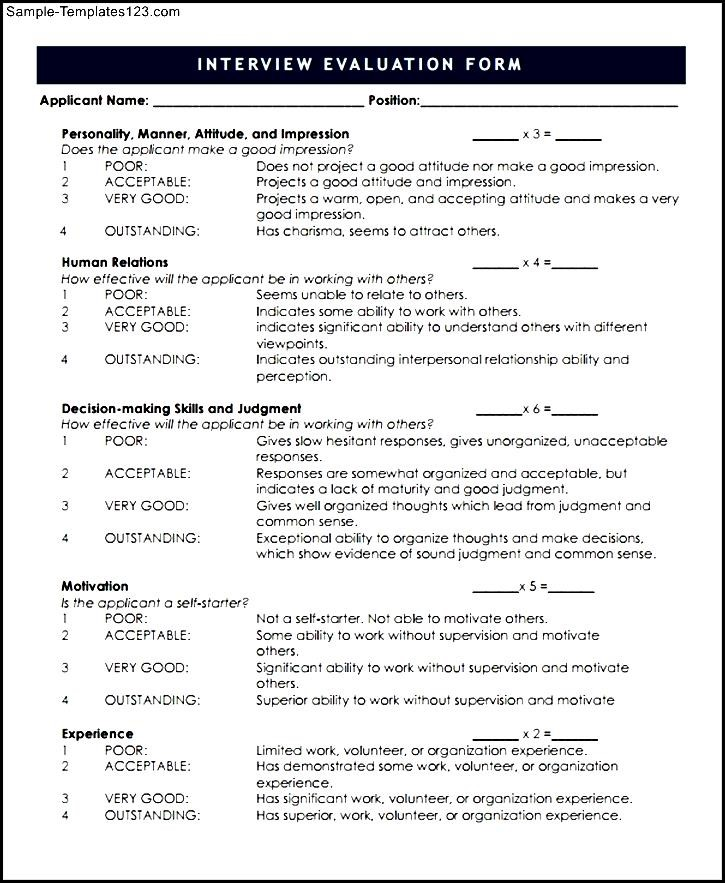 Cute Interview Evaluation Form Templates Contemporary  Example
