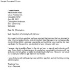 Interview Rejection Letter to Employer
