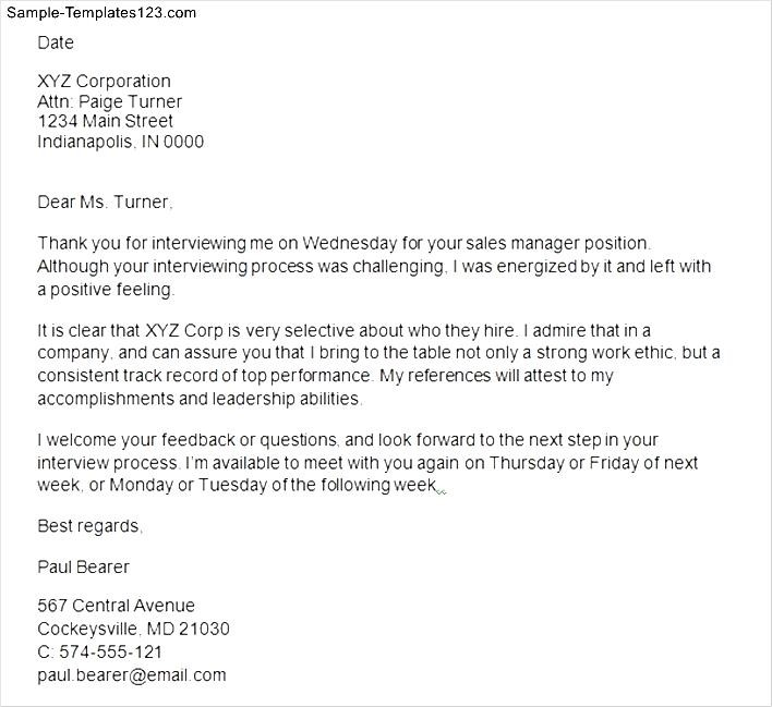 Interview Thank You Letter After Interview Sample Templates