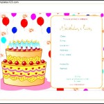 Invitation Birthday Template Blank