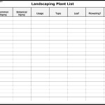 Landscaping Plant List Form Template