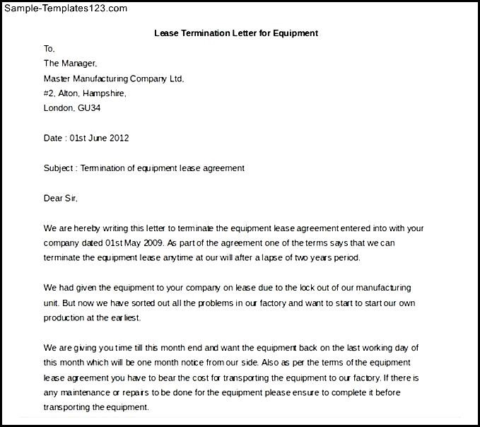 Lease Termination Letter For Equipment Sample Templates