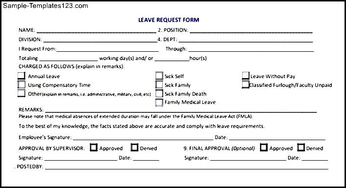 Leave Request Form - Sample Templates - Sample Templates