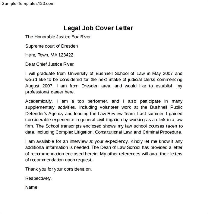 legal job cover letter example sample templates