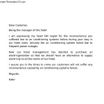 Letter Hotel to Customer for Apology