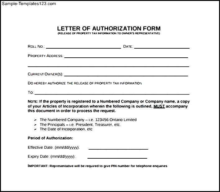 Letter Of Authorization Form Sample Templates