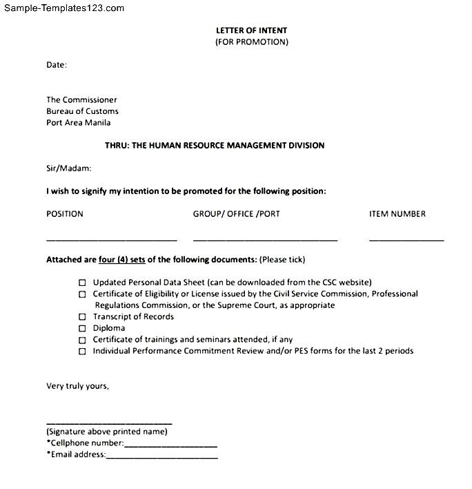 Letter Of Intent For Promotion Within Company
