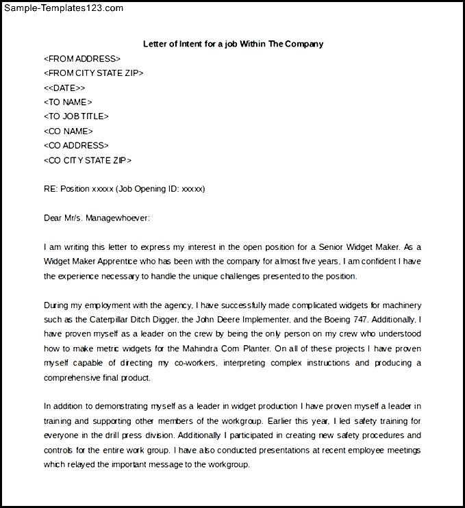 Letter of interest within same company image collections letter letter of intent job application template mysticskingdomfo spiritdancerdesigns Gallery