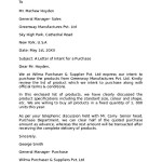 Letter of Intent to Purchase Business Assets