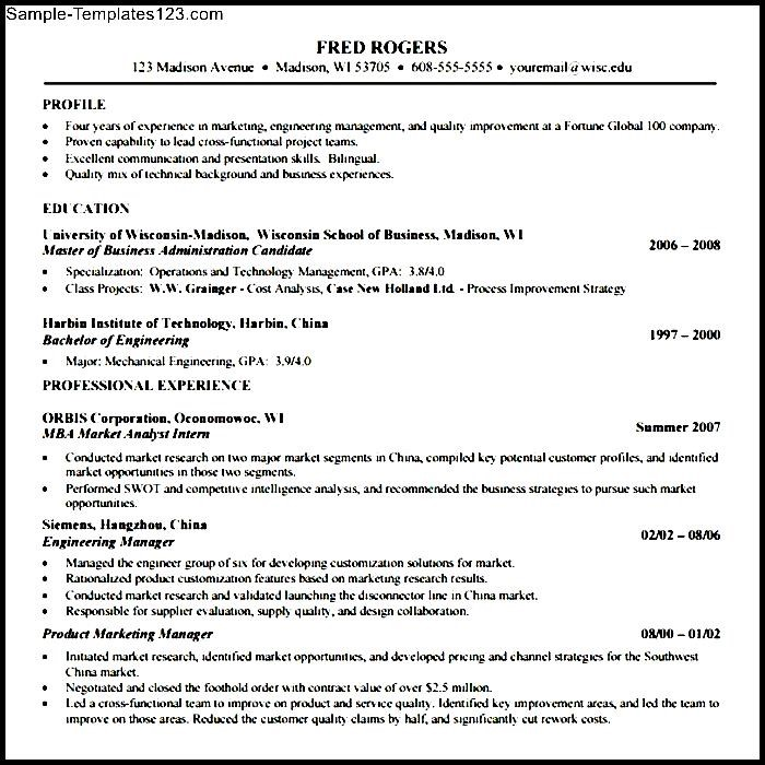 mba application resume template