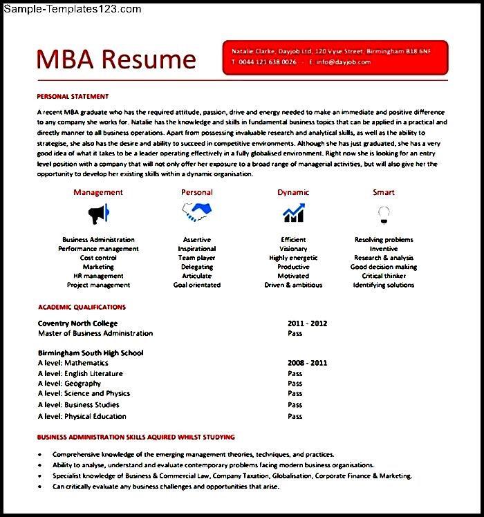 mba resume sample  sample templates  sample templates