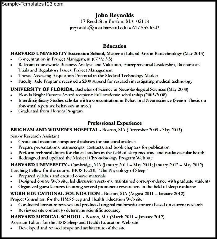 mba resume template harvard  sample templates  sample