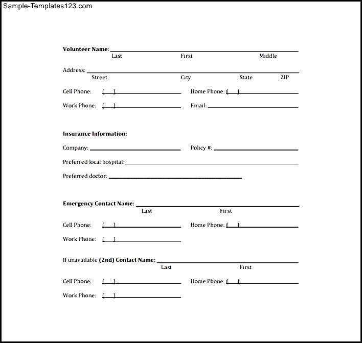 MCPL Volunteer Emergency Contact Information Form - Sample Templates ...