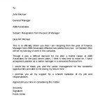 Manager Post Resignation Notice Letter