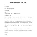 Marketing Internship Cover Letter Sample