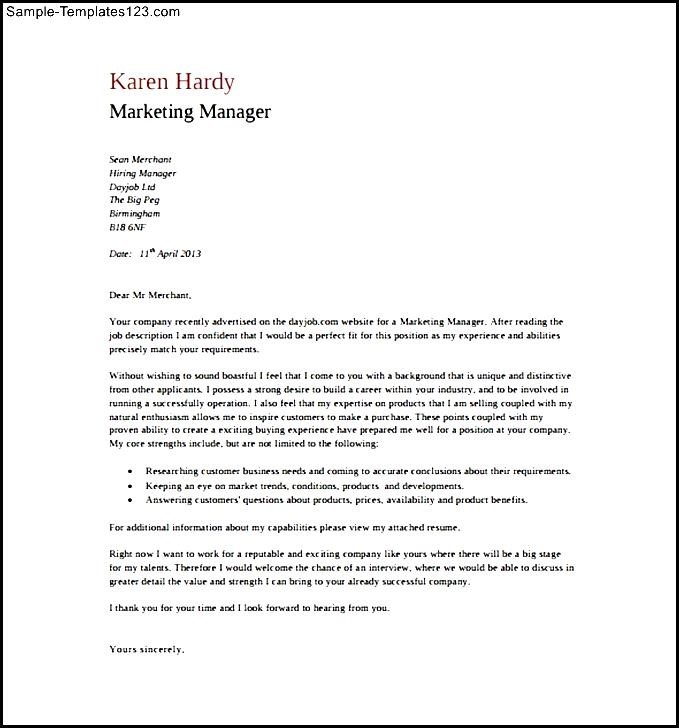 cover letter general manager