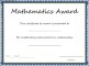 Mathematics Award Certificate Template