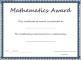 Mathematics Award Certificate Template