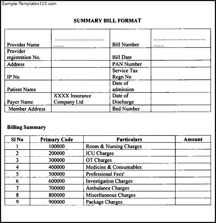 medical bill format in pdf sample templates sample templates