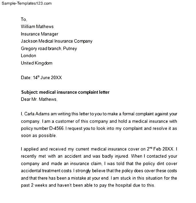 Medical insurance complaint letter sample templates sample templates medical insurance complaint letter spiritdancerdesigns Images