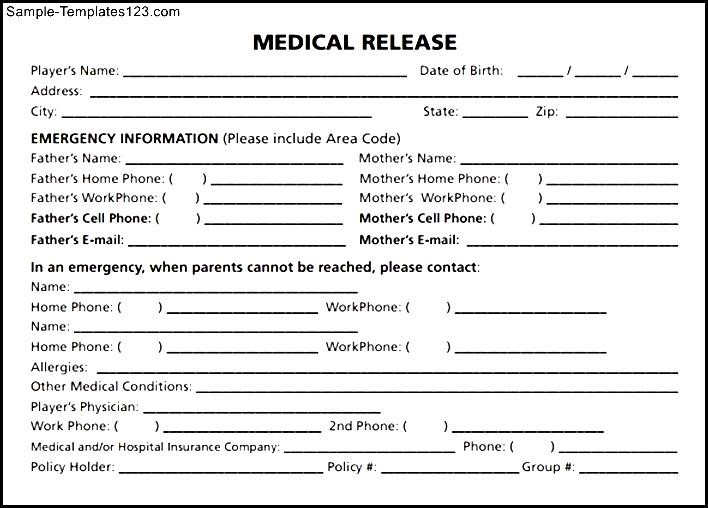 Medical Release Form Pdf Sample Templates Sample Templates
