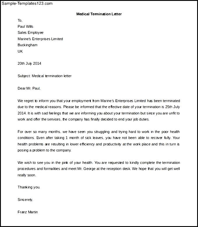 medical termination letter - Mersn.proforum.co