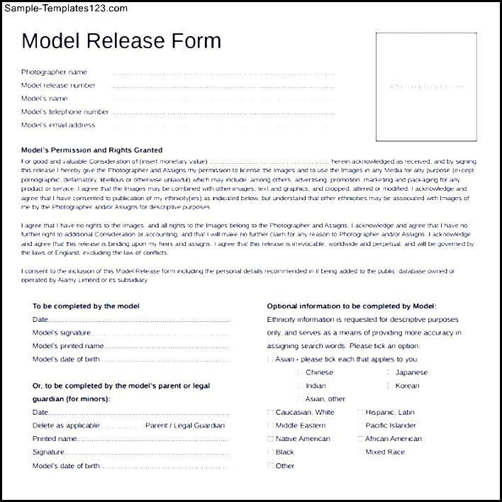 Sample Model Release Form Template