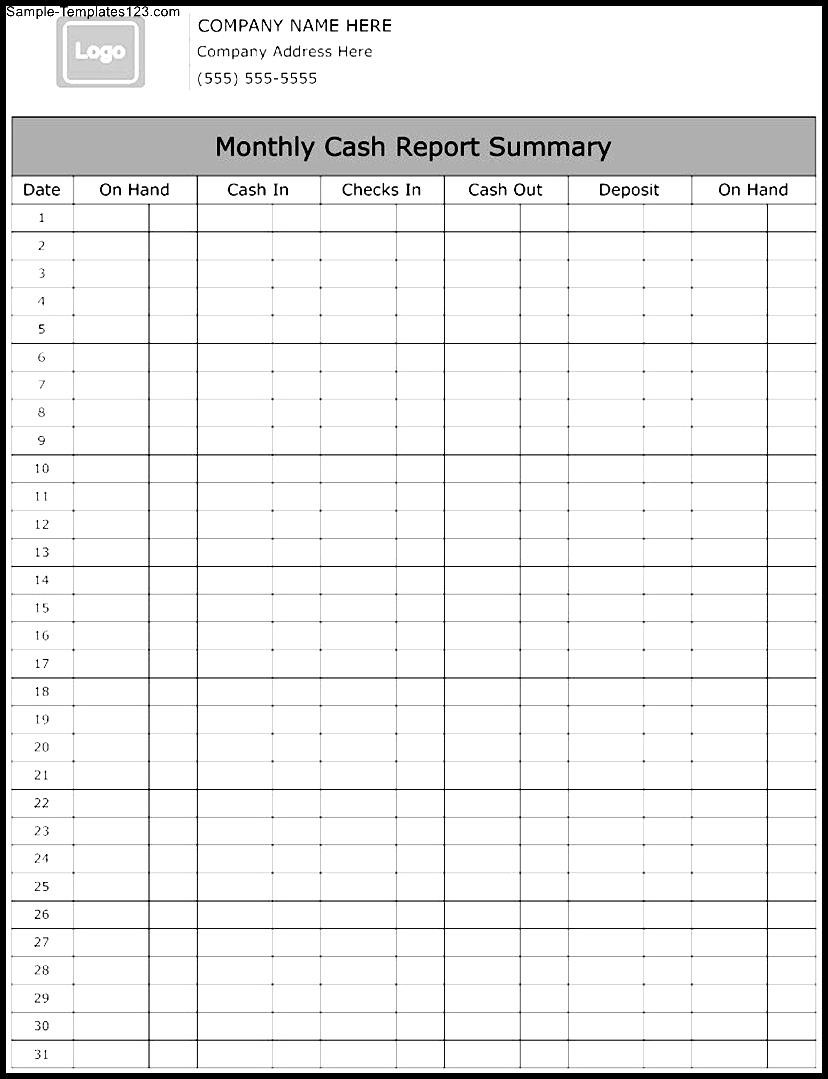 Monthly Cash Report Summary Template - Sample Templates ...