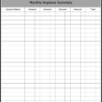 Monthly Expense Summary Template