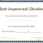 Most Improved Student Certificate Template
