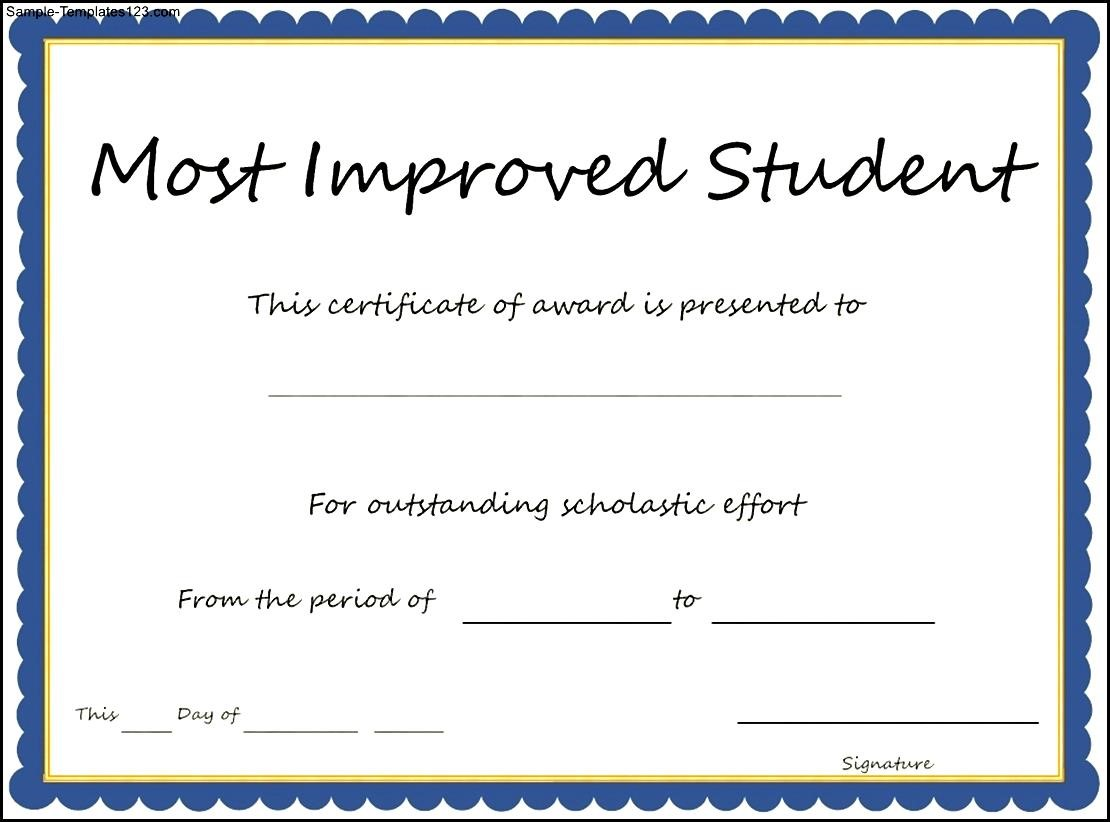 Most improved student certificate template sample for Most improved certificate template