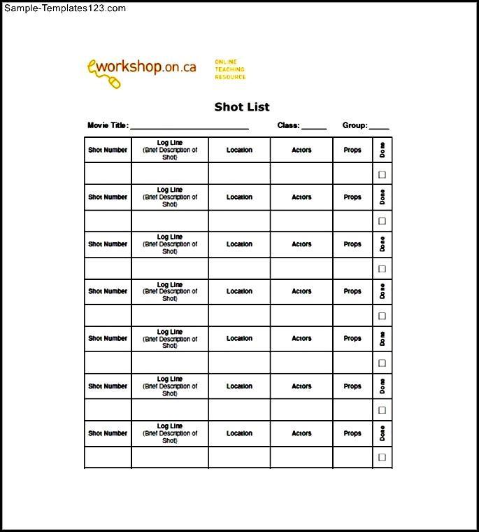Shot List Example] Shot Listpng, Shot List Template Free Word Excel ...
