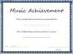 Music Achievement Award Certificate Template
