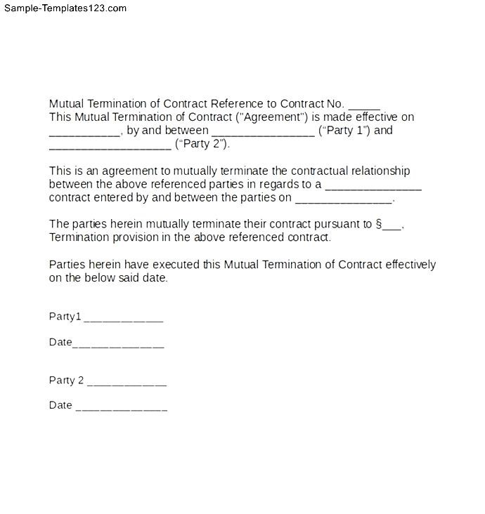 Termination of contract format mutual termination of contract letter sample templates notice platinumwayz