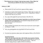 National Letter of Intent Document