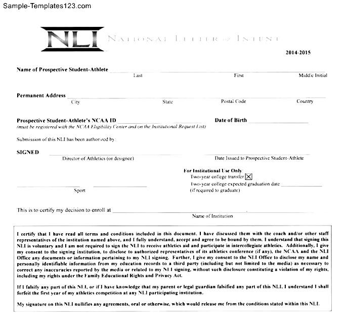 National Letter Of Intent Templates