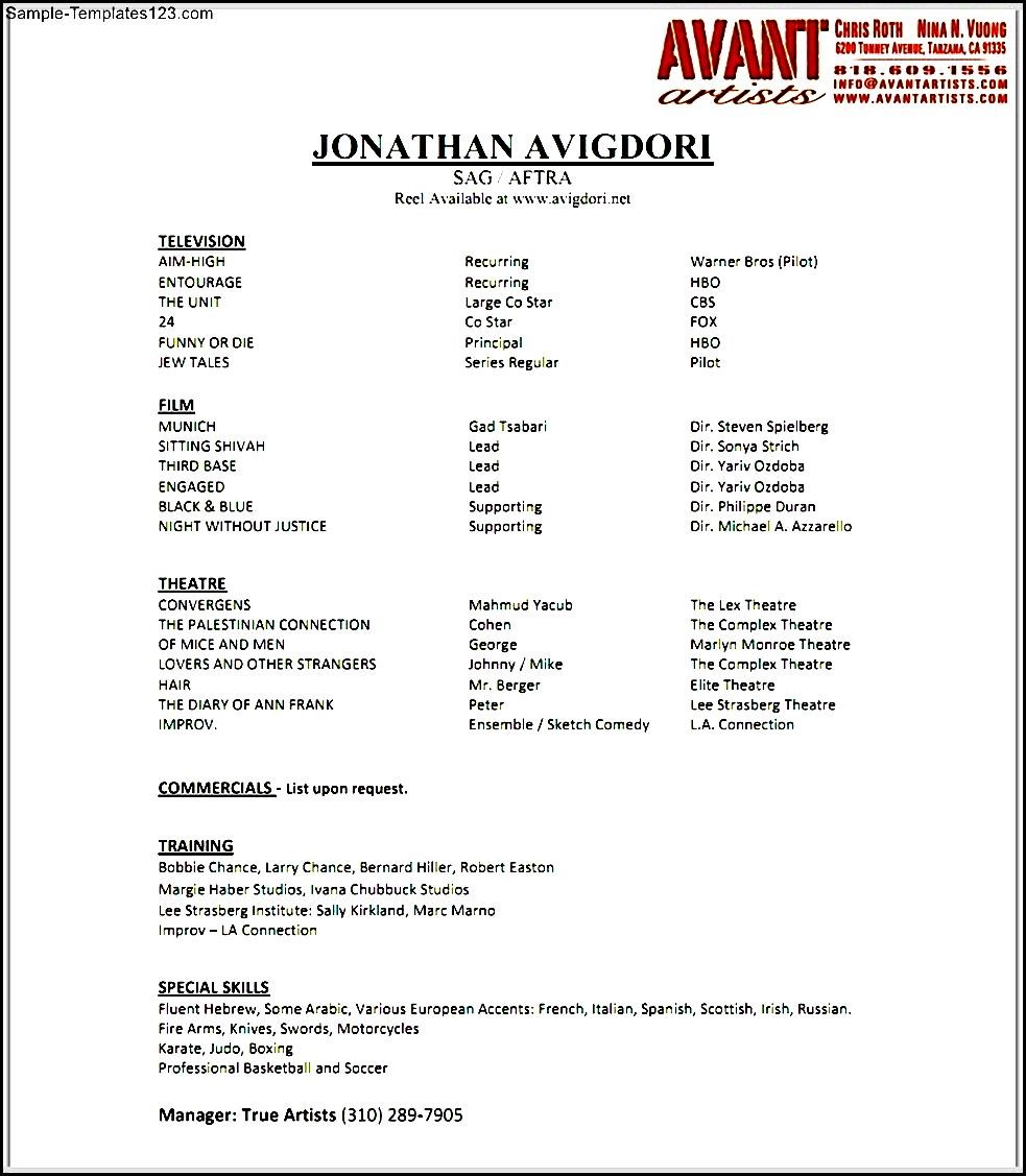 actor resume no experience - Acting Resume No Experience