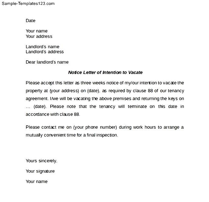 Example of notice to vacate apartment latest bestapartment 2018 notice letter of intention to vacate sample templates spiritdancerdesigns Image collections