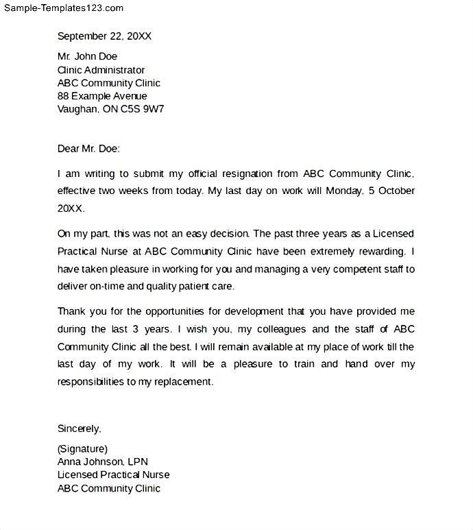 Nurse Resignation Letter with 2 Weeks Notice - Sample ...