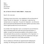 Offer of Employment Letter Template